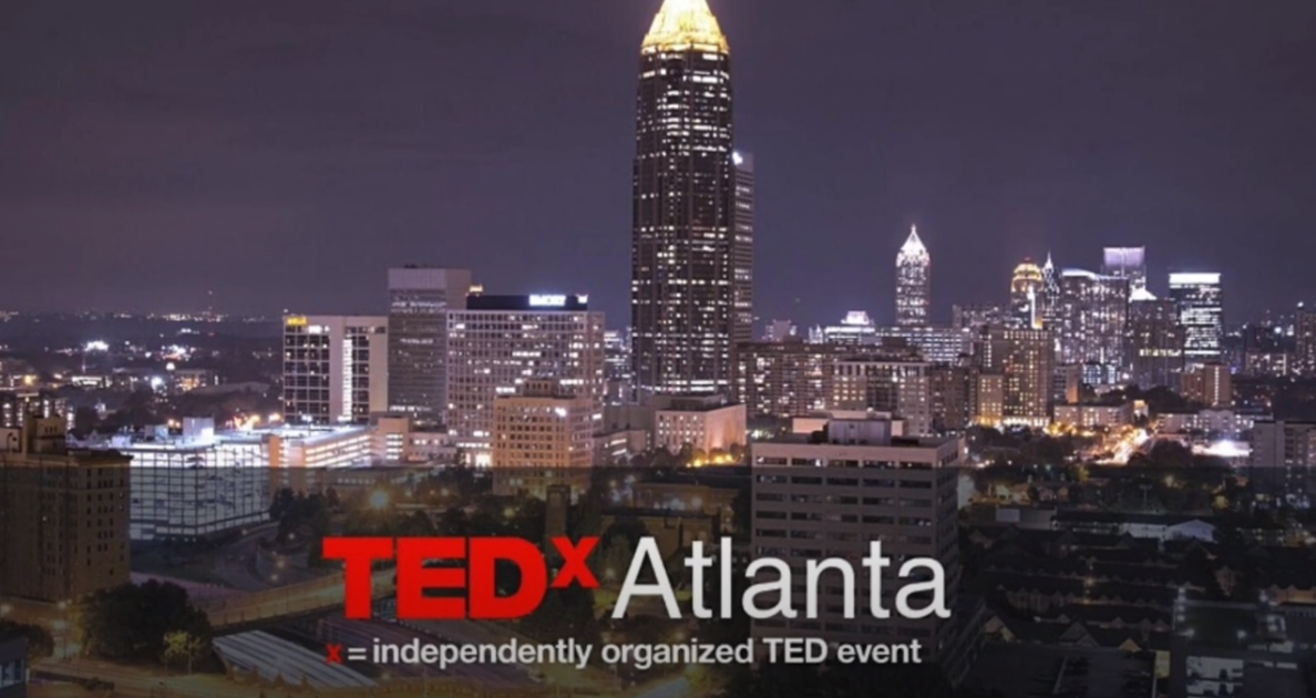 Atlanta Skyline with the TedxAtlanta logo copied over it.