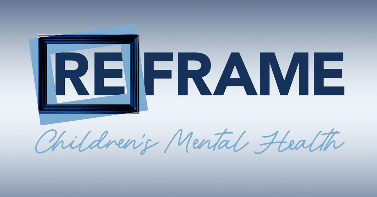 Reframe Children's Mental Health podcast logo on a blue to white gradient background